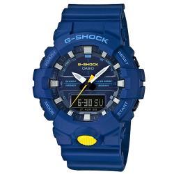 【CASIO 卡西歐】G-SHOCK 活潑撞色 運動雙顯男錶 樹脂錶帶 藍X螢光黃 防水200米(GA-800SC-2A)