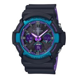 【CASIO 卡西歐】G-SHOCK復古霓虹雙顯錶 樹脂錶帶 太陽能 霓虹紫 防水200米(GAS-100BL-1A)