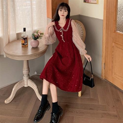 KVOLL-娃娃領半透燈籠袖波浪紋洋裝M-4XL(共二色)/