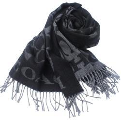 COACH  義大利製大C LOGO 羊毛寬版披肩/圍巾 _黑