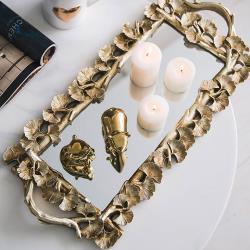 北歐時光長方形銀杏葉復古雕花金色鏡面點心甜品咖啡托盤