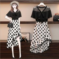 GIFT-大碼波點雪紡裙子洋氣減齡顯瘦兩件套裝