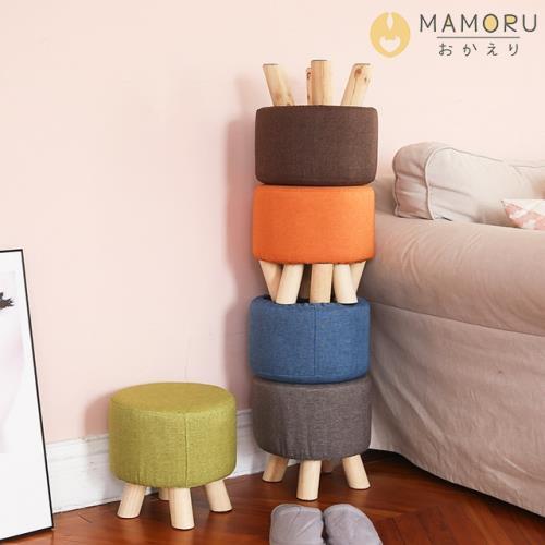 《MAMORU》舒適棉麻實木椅腳矮凳(布面可拆洗/實木椅腳/椅凳置腳凳穿鞋椅圓凳)/