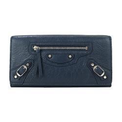 BALENCIAGA 巴黎世家 CLASSIC羊皮銀扣翻蓋長夾(藍)