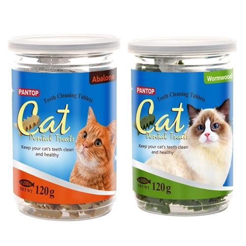 PANTOP邦比-愛貓用潔牙錠/潔牙片(混搭口味)120gx2罐組**鮑魚+艾草風味滿足貓咪挑剔味蕾**