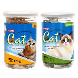 PANTOP邦比-愛貓用潔牙錠/潔牙片 (混搭口味) 120g x2罐組 ** 起士+艾草風味 滿足貓咪挑剔味蕾**