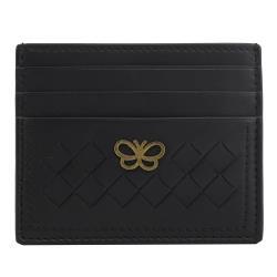 BOTTEGA VENETA 548510 浮雕蝴蝶編織羊皮簡易卡片夾.黑