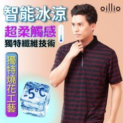 oillio歐洲貴族 男裝 短袖智能冰涼POLO衫 超輕量穿著 獨特燒花工藝 透氣舒適 超柔防皺 紅色