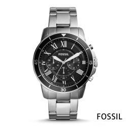 FOSSIL 紳士男款 羅馬風格 鋼帶男錶(FS5236)-黑/42mm