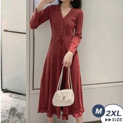 【LANNI 藍尼】現+預 柔美V領收腰荷葉邊連身裙(連身裙/長裙/洋裝)