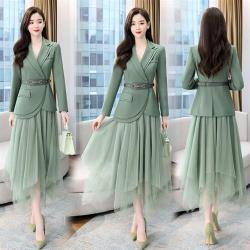 SZ-正裝西服外套搭配鬆緊腰網紗不規則裙M-2XL(共三色)