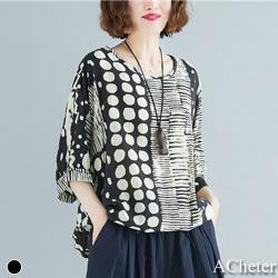 【ACheter】馬爾他島大碼沁涼寬鬆棉麻上衣j#106661現貨+預購(黑色)