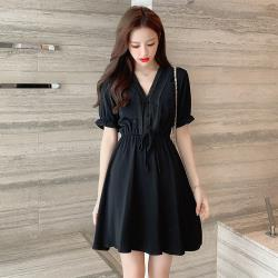 【KISSDIAMOND】法式甜美V領收腰短袖連衣裙洋裝 KDD-2203(顯瘦/修身/優雅/氣質)