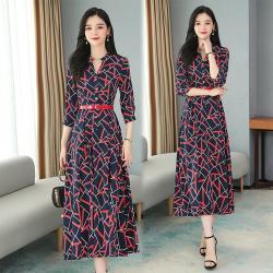 【KISSDIAMOND】幾何印花V領顯瘦連身裙 KDD-107(約會/百搭/氣質/洋裝)