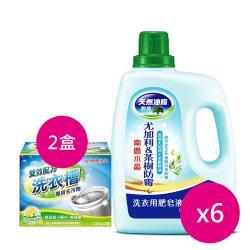 南僑水晶肥皂洗衣精尤加利茶樹防霉2200mlx6瓶+洗衣槽去汙劑250gx2盒