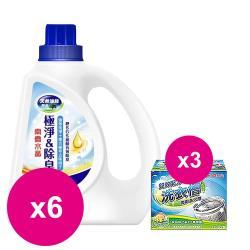 南僑水晶肥皂洗衣精極淨除臭瓶裝1.6kg(藍)x6瓶+洗衣槽去汙劑250gX3盒