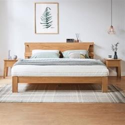 hoi!好好生活 林氏木業北歐清新白橡木床頭儲物夜燈雙人5尺 150x200 床架 LS142