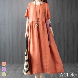 【ACheter】森林中靜靜蝶戀舒鬆棉麻大碼洋裝#107110現貨+預購j(3色)