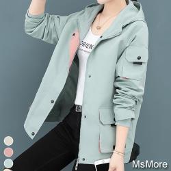 【MsMore】2021全新馬卡龍連帽寬鬆風衣外套#108691現貨+預購(3色)