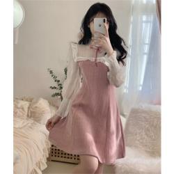複古收腰顯瘦圓領連衣裙