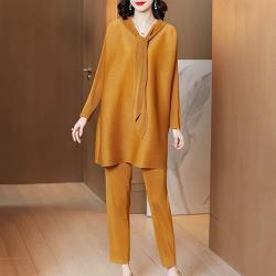糖潮-純色長衣領連帽寬鬆壓摺褲套裝-F(共三色)