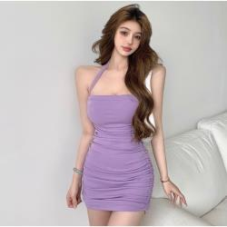 無袖氣質掛脖短裙