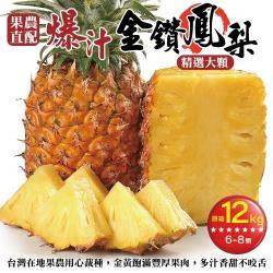 果農直配-嚴選外銷等級大顆金鑽鳳梨(約6-8顆/12kg±10%含箱重)