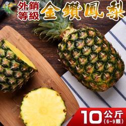 【禾鴻】產地直送屏東金鑽鳳梨10公斤6-9顆x1箱