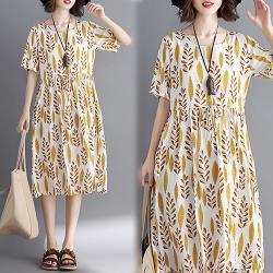 韓國K.W.  自然亞麻舒服花形洋裝