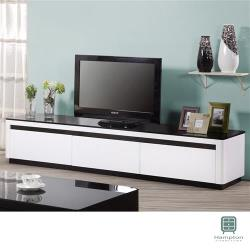 【Hampton 漢汀堡】卡瑪白色亮烤6.6尺電視櫃