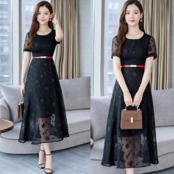 韓國K.W.  經典熱銷精美緹花純色洋裝