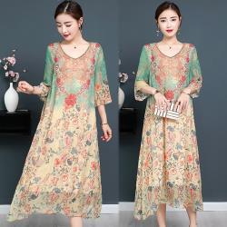 韓國K.W. 韓流活力時光時髦清爽自然印花洋裝