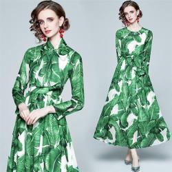M2M-綠森林系印花大裙擺絲巾雪紡洋裝S-2XL