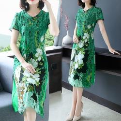 韓國K.W.  明星款花樣年華中國風開叉拼接印花洋裝