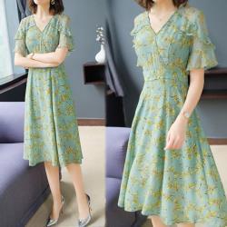 韓國K.W. 夏氛俏皮氣質飄逸荷葉袖印花洋裝
