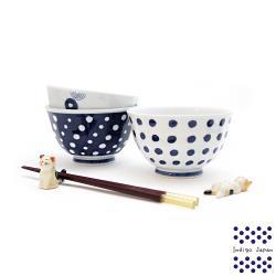 【西海陶器】日本輕量瓷波佐見燒三入碗公組-藍丸紋(13.5x8.5cm/600ml)