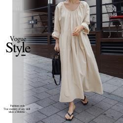 【GF 快時尚】簡約圓領褶皺素面洋裝 (M-XL)