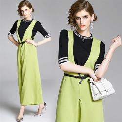M2M-撞色條紋袖上衣搭配果綠色吊帶褲套裝-F