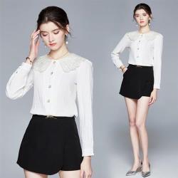 M2M-白色娃娃領珠扣襯衫褲裙套裝組合S-XL