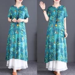 韓國K.W. 破盤價甜系好感民族風印花洋裝