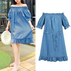 韓國K.W. 法式女孩一字領顯瘦洋裝