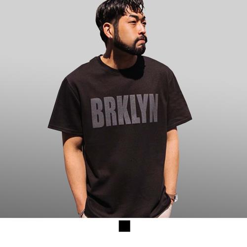 【男人幫大尺碼】T8045*台灣製造英文字母BRKLYN加大尺碼純棉圖案T恤/