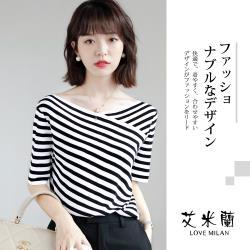 【艾米蘭】韓版串珠裝飾排扣造型上衣(S-L)