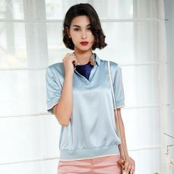 闕蘭絹休閒典雅蠶絲緞面短袖POLO衫(藍色)-6632