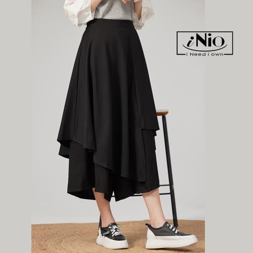 【iNio】雙層設計鬆緊腰長寬褲裙-現貨快出【C1W2018】/