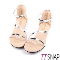 TTSNAP涼鞋-波浪緞帶簡約低跟楔型涼鞋黑/玫瑰金/銀/棕