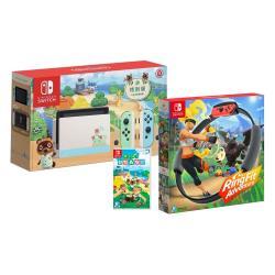 任天堂 Nintendo Switch 動森特別版主機+動物森友會(贈特典)+健身環大冒險 (公司貨中文版)