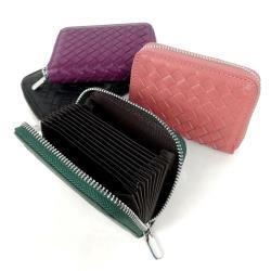 WuMi 編織羊皮卡夾零錢包 共4色