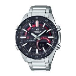 【CASIO 卡西歐】EDIFICE 簡約雙顯男錶 不鏽鋼錶帶 黑紅跳色 十年電力 防水100米(ERA-120DB-1A)