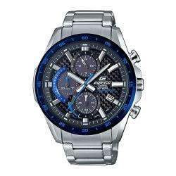 【CASIO 卡西歐】EDIFICE 太陽能賽車三眼 不鏽鋼錶帶 黑x藍 碳纖維轉盤 防水100米(EQS-900DB-2A)